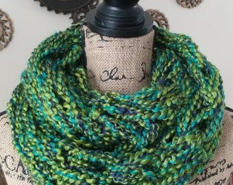 Green and Black Arm Knit Double Infinity Scarf/St.Patty's Day Scarf/Cowl/Chunky Scarf