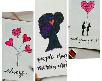 SET OF 3 - Love Watercolor Handmade Motivational Notecards