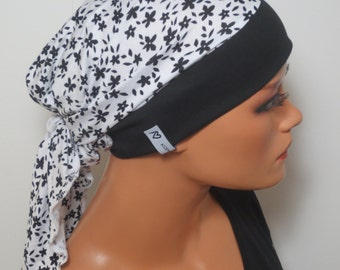 Head scarf Hat/convertible cap black with white flowers ideal for chemotherapy hair loss alopecia as op. Hood for boating