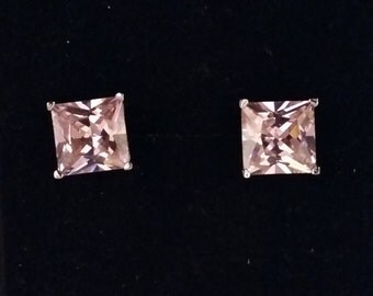 pink cz square silver studs .