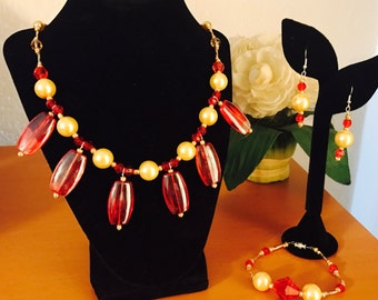 Radiant Red and gold faux pearls 3 piece jewelry set