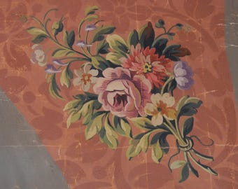 -Traditional - Aubusson upholstery cardboard 70 x 70 cm - painter damask - gouache on coated canvas - vintage.