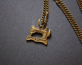bronze tone singer sewing machine necklace