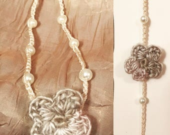Newborn Crochet Flower Headband with sewn in pearls, Newborn Headband, Flower headband photoprop
