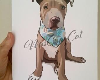 Pitbull Puppy Art Print - Dog Portrait - Hand Drawn Dog Art - Pitbull Cartoon Drawing - Dog Digital Illustration - Hand Drawn Pet Portrait
