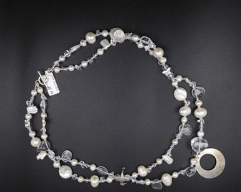 Stunning Crystal Clear Semi-Precious Stones and Pearls, Beaded Necklace with Silver 925 Pendant