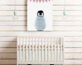 Penguin Nursery Canvas (with bunting)