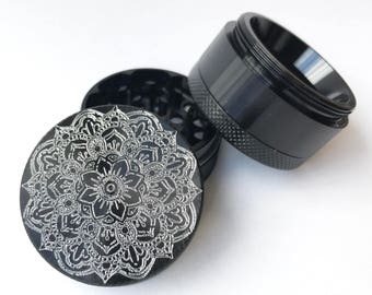 Custom Herb Grinder - Mandala Design - Create Your Own 40mm Aluminium FREE Scraper, Keyring to match & Papers!