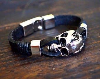 Skull Bracelet Men's Bracelet Charm Bracelet for Him Chain Bracelet Black Bracelet Leather Bracelet