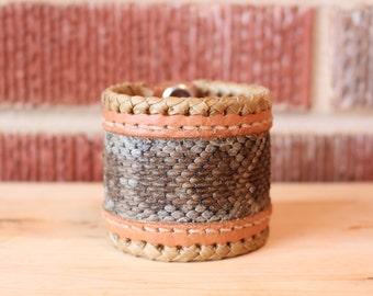 Genuine Rattlesnake skin bracelet cuff
