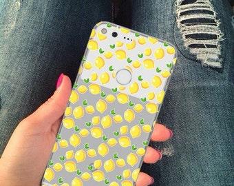 Clear pixel case, pixel xl case, lemons case, google case, lemons, pixel case, pixel lemons case, silicone pixel case, fruit,citric