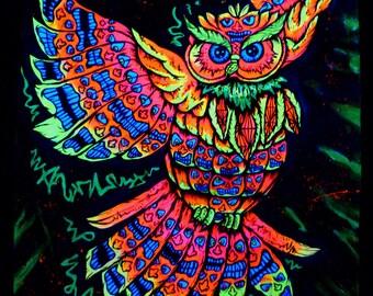 Flag Tiki owl, 100 x 64 cm, hand painted