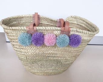 Ibiza bag with PomPoms in delicate pastel colours