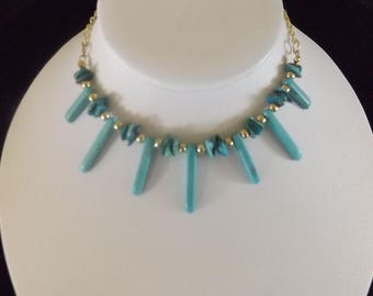 Turquoise Spike and Chip Necklace with Gold Accents