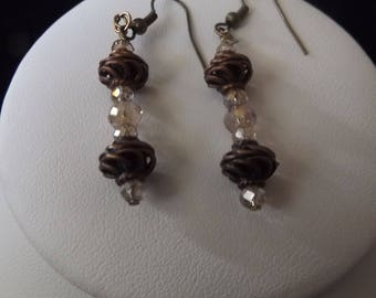 Bronze Spiral with Champagne Accent Drop Earrings