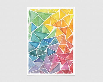 Rainbow Connection Abstract Watercolor Greeting Card