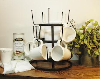 Coffee Bar mug holder, Farmhouse mug rack, metal mug rack, Farmhouse kitchen decor, Coffee bar rack, Coffee station, Metal coffee cup rack
