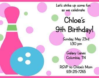Kid's Bowling Party Invitation