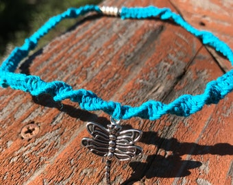 Turquoise Twist Hemp Choker Necklace with Silver Dragonfly Charm and Silver Magnetic Clasp