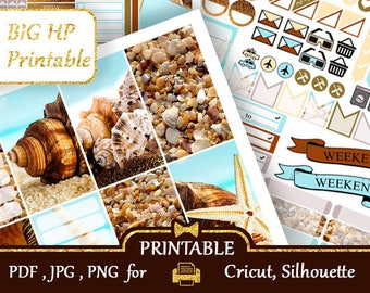 Seashells Big Happy Planner Stickers Weekly kits Printable Functional Planner Stickers Big HP Cricut Silhouette Cut files Discount COUPON
