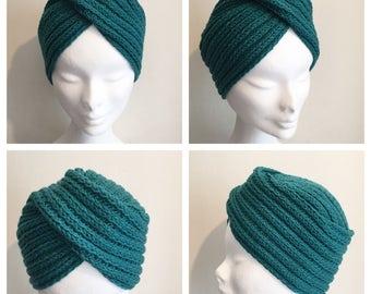 Made to order CLASSIC TURBAN Vintage Inspired handknitted Turban 100% Virgin Wool (Merino)