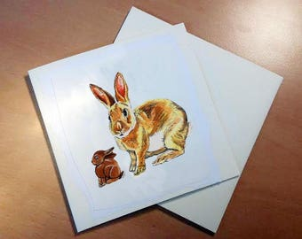 Easter Bunny | Funny Bunny | Rabbit Easter Card | Handmade Easter Card