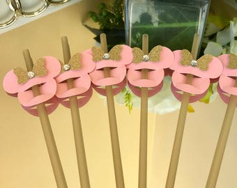 Minnie Mouse Straw Toppers (Straws Included)