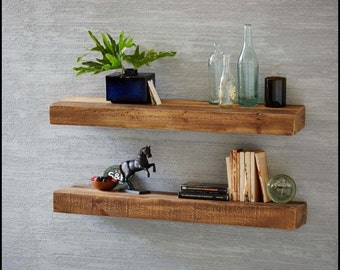 Floatings shelves  chunky antique pine x2 50 cm Sarah stone