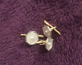 3 Vintage gold 14k seed pearl cufflinks