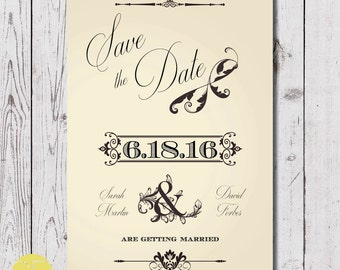 save the date download, digital download, custom save the date download