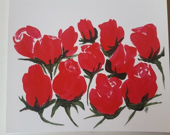 3 Art greeting cards - Red Roses
