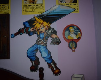 Cloud from final fantasy VII of hama beads of 85 x 88 cm