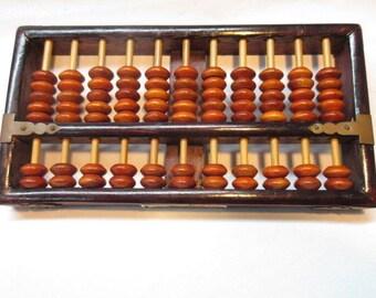 "VINTAGE LOTUS FLOWER brand rosewood chinese abacus 77 beads rare 8 1/4"" x 4 1/4"""