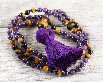 "Amethyst, tiger eye and obsidian yoga mala necklace - 30"" inches long - Prayer beads - Handmade tassle"