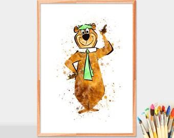 Yogi Bear Poster, yogi bear print, yogi bear watercolor print, Hanna Barbera, kids decor, nursery printable, watercolor yogi bear printable