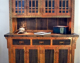 Rustic Barnwood Buffet Hutch Dining Room China Cabinet