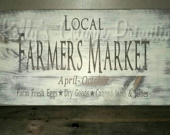 Local Farmers Market Country Wooden Sign Wall Decor Kitchen Decor Farmhouse Decor Country Decor Rustic
