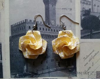 Yellow Origami Paper Flower Earrings