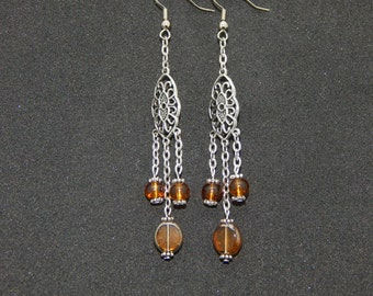 Chain and Golden Brown Bead Chandelier Earrings