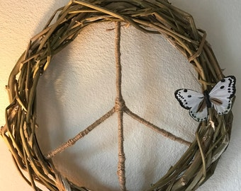 Handmade Recycled Hemp Peace Wreath