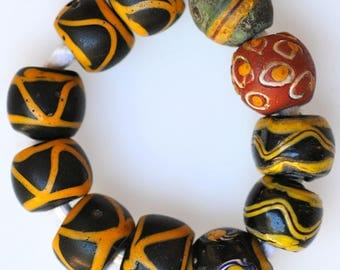 11 Old Mixed Venetian Glass Trade Beads - Vintage African Trade Beads - #7645