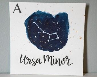 Ursa Minor Constellation Painting - Galaxy, Night Sky, Stars, Original Watercolor
