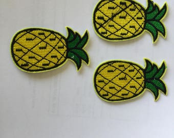Pineapple Set Of 3 Embroidered Patch  Iron Or Sew
