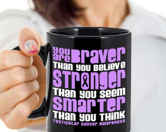 Testicular Cancer Coffee Cups Novelty Braver Orchid Ribbon Custom Ceramic Mug Cup Lover Mugs Cute Gift Survivor Support 11 & 15 ounce