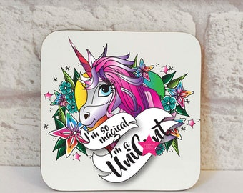 I'm So Magical I'm A Unic*nt Coaster, Unic*nt Coaster, Unicorn Coastes, Swear Gift, Novelty Gift, Novelty Coaster, Drink Coaster, Swear Gift