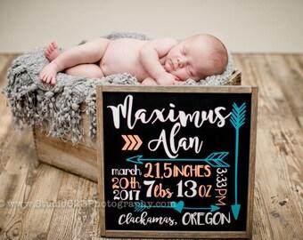 Birth Stats | Newborn Announcment  | Custom Wood Sign | Nursery Decor