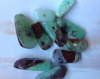 Ten Smooth Chrysoprase Nugget Beads, Smooth Chrysoprase Nuggets, Genuine Chrysoprase, Natural Gemstone