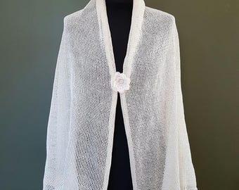White Linen Shawl,Bridal Wraps Shawl, Linen Silk Shawl,Natural Linen Scarves, Linen Shawl Wrap,Ivory Bridal Wedding Scarf, Summer White Cape