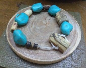 Turquoise wooden bracelet