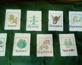 Check various zodiac signs in cross stitch